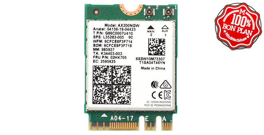Carte Wifi6 M.2 2230 Intel AX200NGW + Bluetooth 5.1