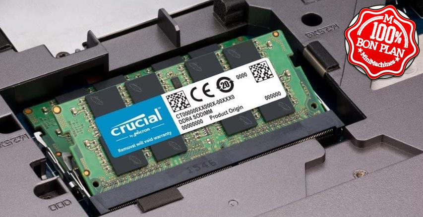Barette mémoire SoDimm DDR4 8 Go Crucial 2666MHz