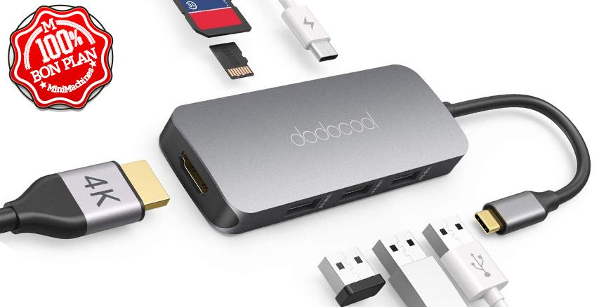 Hub USB Type-C Dodocool HDMI - USB - SDXC et MicroSDXC