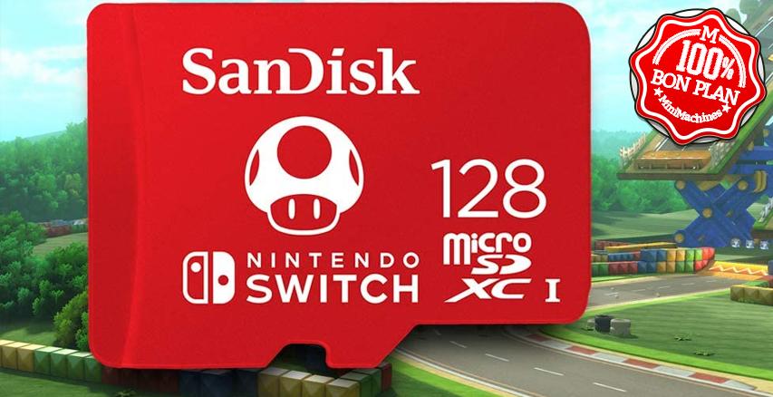 Carte MicroSDXC Sandisk 128Go  UHS-1 pour Nintendo Switch