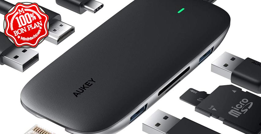 Hub USB Type-C Aukey 8 en 1