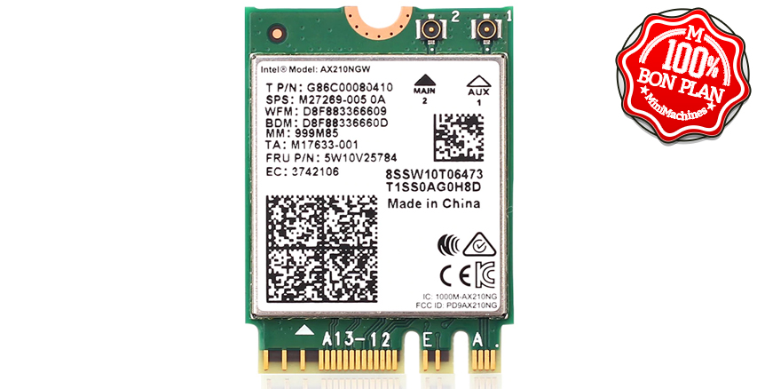 Carte Wifi6E M.2 2230 Intel AX210NGW + Bluetooth 5.2
