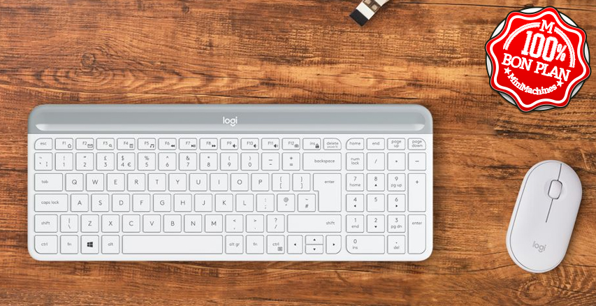 Kit clavier et souris Logitech MK470 sans fil blanc