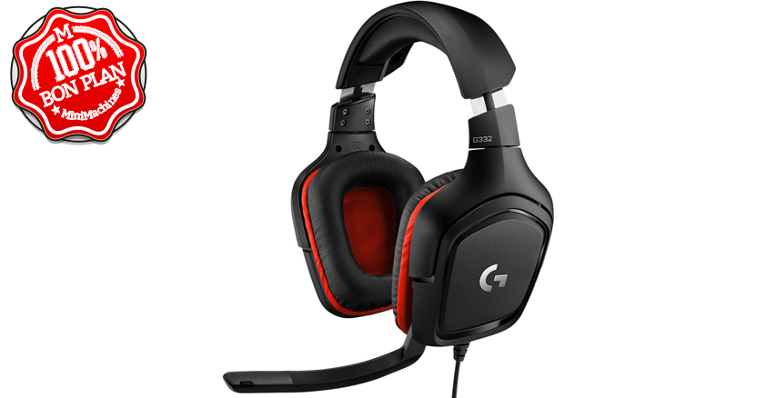 Casque Gaming Logitech G332 filaire + micro Noir-Rouge