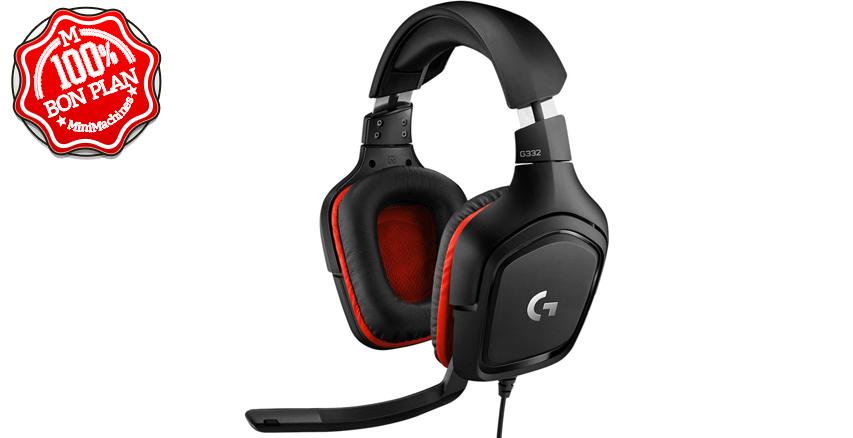 Casque Gaming Logitech G332 filaire + micro Noir-Rouge