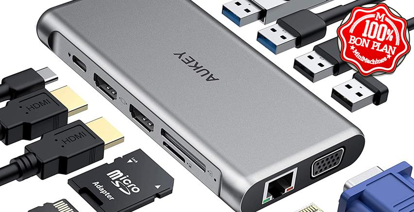Hub Aukey CB-C78 USB type-C 12 en 1 Aluminium