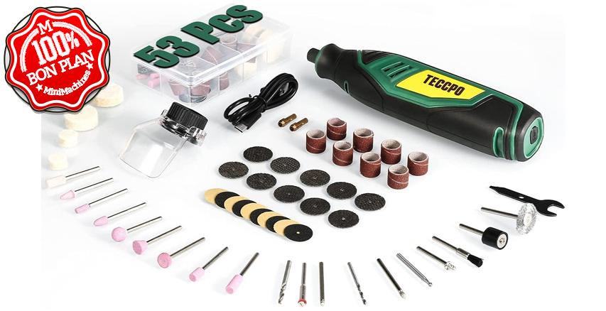 Outil rotatif TECCPO sans fil TPRT02D avec 53 accessoires