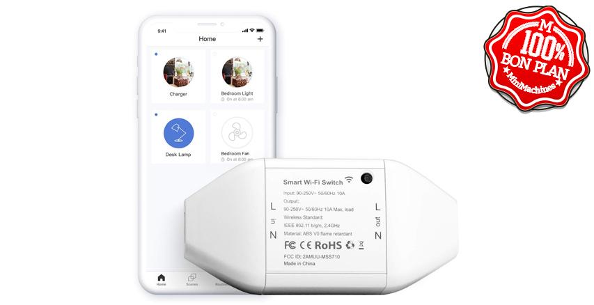Interrupteur Connecté Meross Wifi + commande vocale 10A
