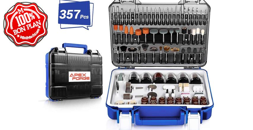 Coffret 357 accessoires pour outil rotatif Apexforge