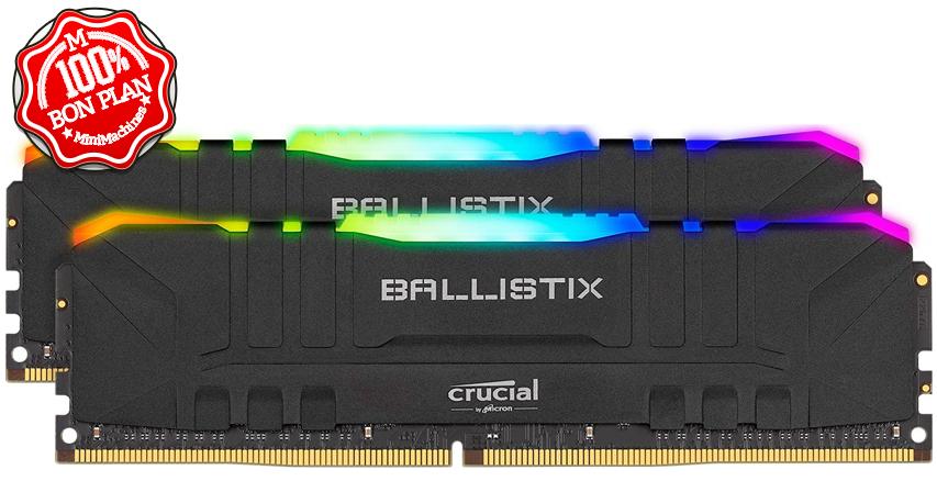 Crucial Ballistix 16 Go (2x8Go) BL2K8G32C16U4BL RGB DDR4 3200 MHz