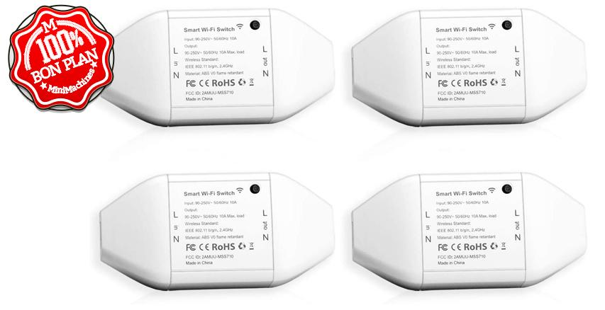 Lot 4 Interrupteurs Connectés Meross Wifi + commande vocale 10A